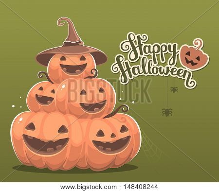 Vector Halloween Illustration Of Pile Of Decorative Orange Pumpkins With Eyes, Smiles, Spiders, Web