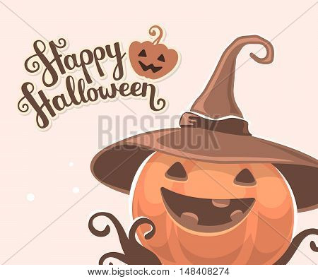 Vector Halloween Illustration Of Decorative Orange Pumpkin In Witch Hat With Eyes, Smile, Teeth And