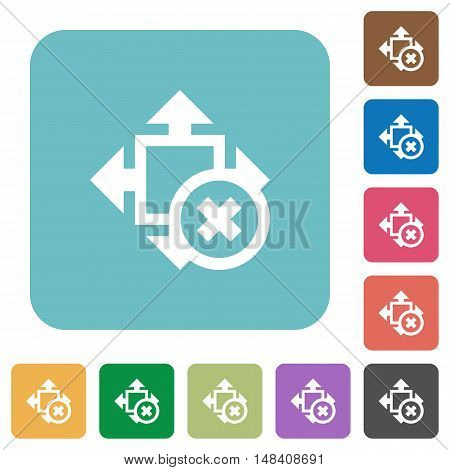 Flat cancel size icons on rounded square color backgrounds.