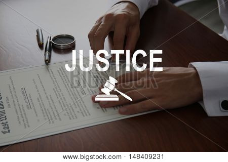 JUSTICE. Notary public in office stamping document