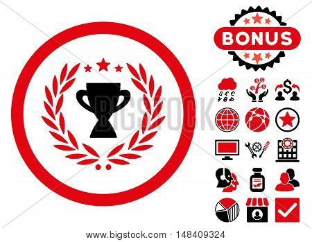 Glory icon with bonus images. Vector illustration style is flat iconic bicolor symbols, intensive red and black colors, white background.