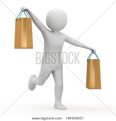 Man with packets on white background. 3d rendering