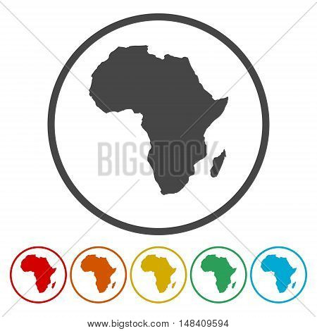 Map of africa. map concept, six color on white background