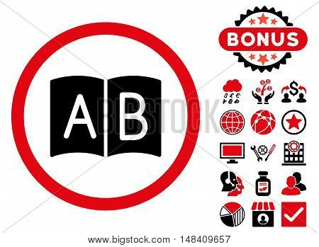 Handbook icon with bonus pictogram. Vector illustration style is flat iconic bicolor symbols, intensive red and black colors, white background.