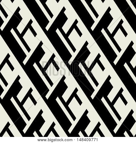 Vector geometric seamless pattern with line and overlapping shapes in black and white. Modern bold monochrome print with diamond shapes for fall winter fashion. Abstract dynamic tech op art background