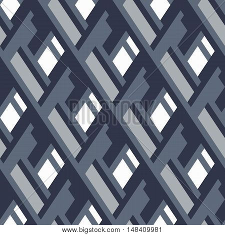 Vector geometric seamless pattern with lines and overlapping shapes in grey. Modern bold monochrome print with diamond shape for fall winter fashion. Abstract dynamic tech op art background