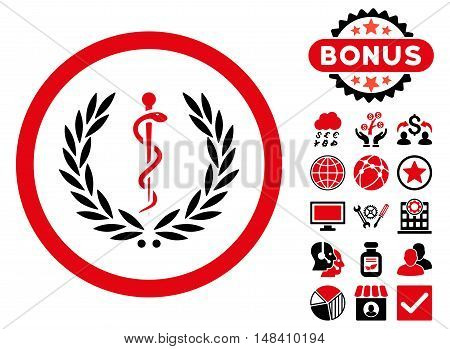 Health Care Emblem icon with bonus pictures. Vector illustration style is flat iconic bicolor symbols, intensive red and black colors, white background.
