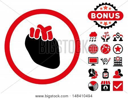 Heart Organ icon with bonus pictures. Vector illustration style is flat iconic bicolor symbols, intensive red and black colors, white background.