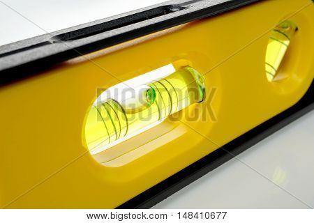 closeup bubble in the spirit level, industrial tool