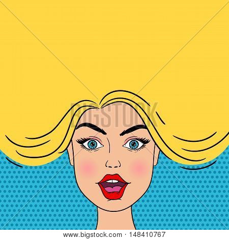 Young Sexy Surprised Blond Woman Face With Open Mouth. Vector Background In Pop Art Style.