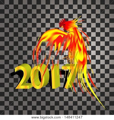 Fiery golden Rooster on a transparentbackground. The symbol of the Chinese New Year 2017.