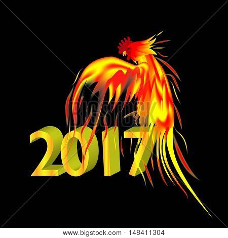 Fiery golden Rooster on a black background. The symbol of the Chinese New Year 2017.