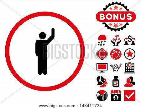 Hitchhike icon with bonus images. Vector illustration style is flat iconic bicolor symbols, intensive red and black colors, white background.