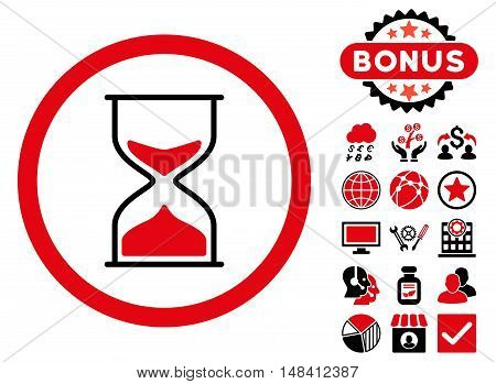 Hourglass icon with bonus images. Vector illustration style is flat iconic bicolor symbols, intensive red and black colors, white background.