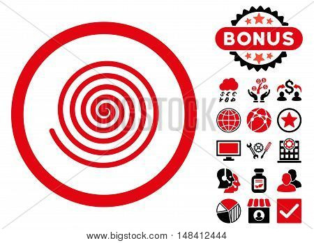 Hypnosis icon with bonus design elements. Vector illustration style is flat iconic bicolor symbols, intensive red and black colors, white background.