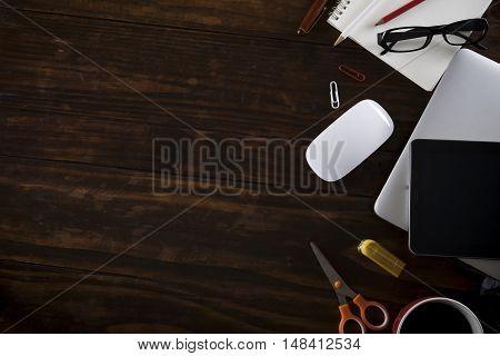 Topview Of Wooden Working Office Desktop.