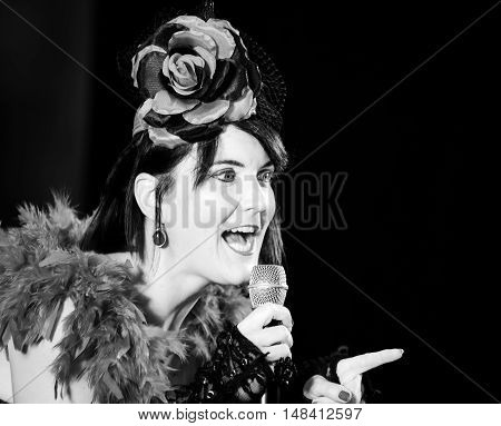 Christel Kern Singing Chanson. Portrait Of French Actress. Scene Shooting.