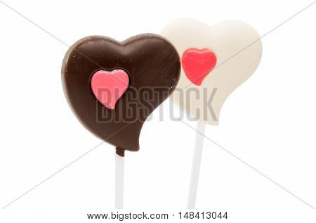 chocolate heart valentine symbol on a white background