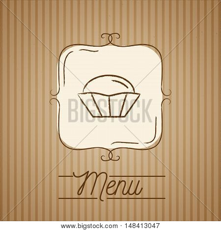Vector Illustration of cupcake. Hand drawn logo with vintage frame