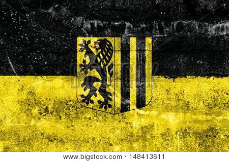 Flag Of Dresden, Germany, Painted On Dirty Wall