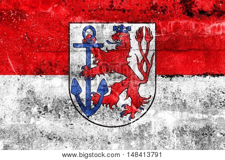 Flag Of Dusseldorf, Germany, Painted On Dirty Wall