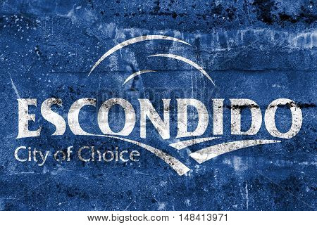Flag Of Escondido, California, Usa, Painted On Dirty Wall