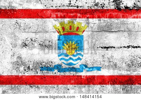Flag Of Florianopolis, Santa Catarina, Brazil, Painted On Dirty Wall