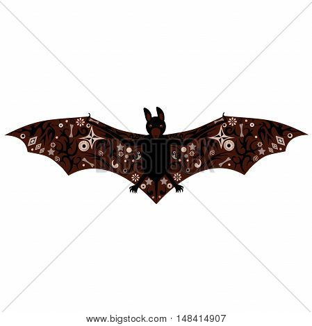 bat with a pattern on wings, a night animal, an animal with big eyes, flora wild, open wings with paws,