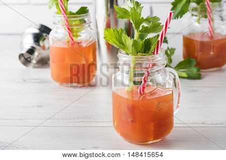 Fresh Home Made Bloody Mary Cocktails