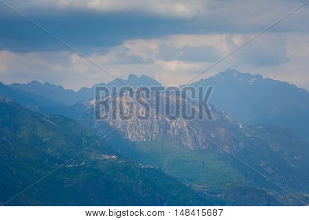 The Dolomite mountains at Lake Iseo Italy