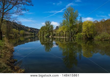 Beautiful Landscape With River Duero And Reflections In Water