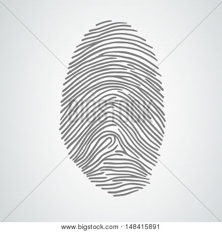 Black fingerprint or fingerprint shape. Vector illustration. Eps8