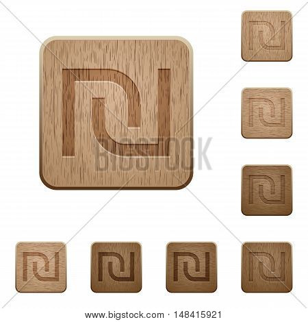 Set of carved wooden Israeli new Shekel sign buttons in 8 variations.