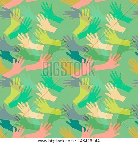 Hand drawn seamless pattern with colorful hands silhouettes.