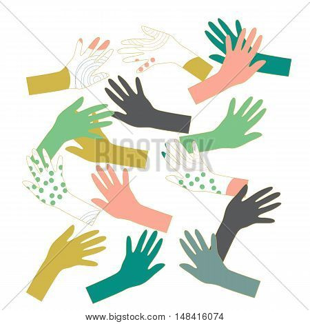 Background with hands outlines in different colors. Vector illustration.