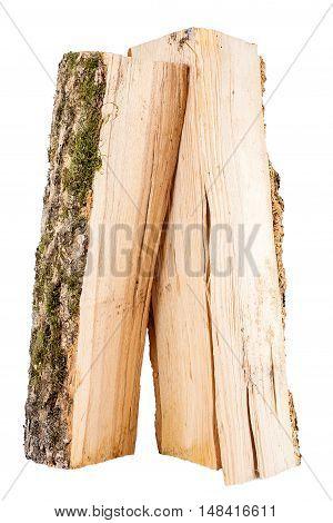 Bundle of firewood isolated on white background