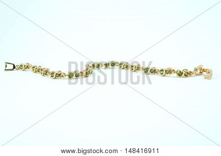 The Bracelet green sapphire on white background