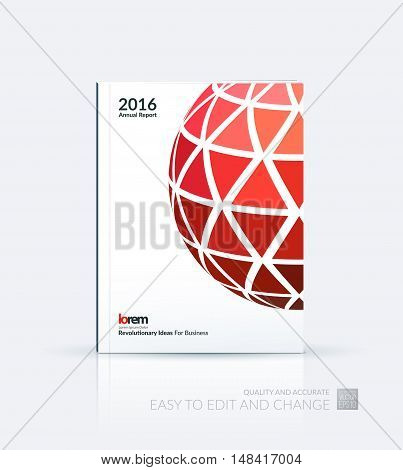 Brochure template layout, cover design annual report, magazine, flyer, leaflet in A4 with red dynamic rectangles and sphere with overlap effect for business and hi-tech. Creative vector art.
