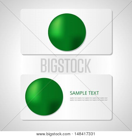 Business card template with green shiny shape.