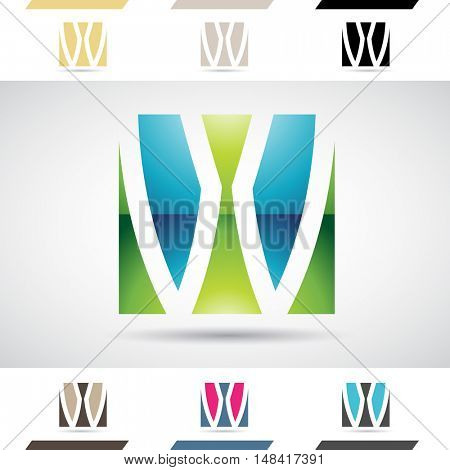 Design Concept of Colorful Stock Icons and Shapes of Letter W, Illustration