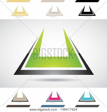 Design Concept of Colorful Stock Icons and Shapes of Letter U, Illustration