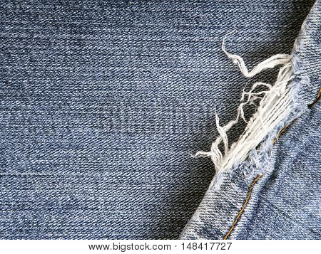 closeup of a blue frayed jeans texture for background