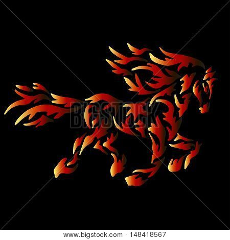fire horse tattoo isolated on black background