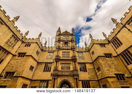 Courtyard of Bodleian library in Oxford, United Kingdom.
