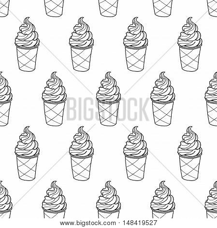 Seamless doodle ice cream cup pattern, hand-drawn monochrome background, ice-cream black and white vector, ice cream background, EPS 8