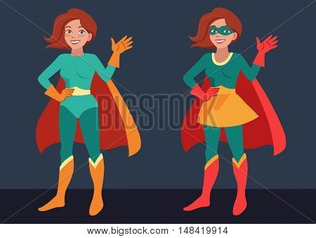 Vector cartoon character illustration of a smiling friendly young woman wearing Superhero costume standing waving hello. Flat contemporary style in bright retro colors isolated on dark background.