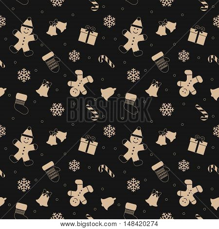 Christmas seamless pattern with gingerbread man mittens bells and snowflakes. For print and web.