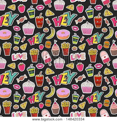 Fashion seamless pattern with patches. Cartoon background in 80s 90s comic trendy style. Vector illustration. Fabric textile design.