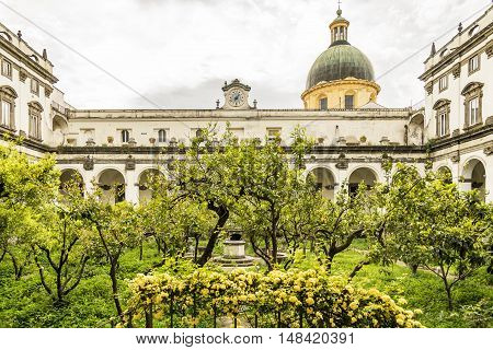 the convent and the Cloister of Gerolamini complex in Naples, Italy