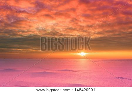 Over Solid Sea Sunset in the Arctic